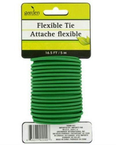 (16.5 Feet Green Flexible Garden Tie Rubber Wrapped Wire Cord)