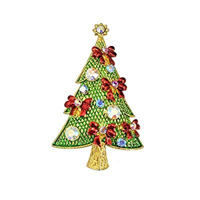 New TTjewelry Beautiful Christmas Tree Multi-color Austrian Crystal Brooch Pin Charming Gift supplier