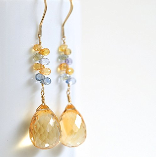 Multicolor Sapphire Earrings - Lemon Quartz Gemstone Earrings - 14k Gold Filled Earrings - September Birthstone