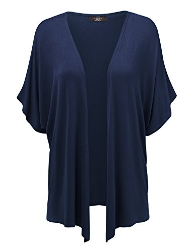 MBJ Womens Short Sleeve Dolman Cardigan 5XL Navy