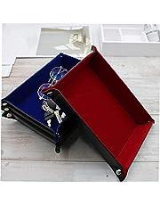 Tärningsbricka tärningsbox spel tärning förvaring bärbar hopfällbar tärning förvaring rullande bricka blå