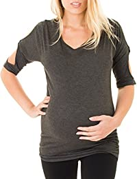 Caramel Cantina Maternity Top with Dolman Sleeves and...