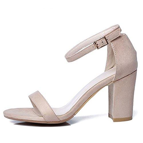 Fashion Open Heels Zanpa Women Toe Strap Block Sandals Nude TqOP4vw
