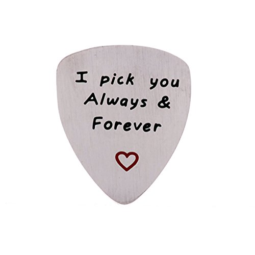 I Love You Always And Forever Guitar Pick, Musical Gift, Anniversary Date, Valentines Day, Gift for Men