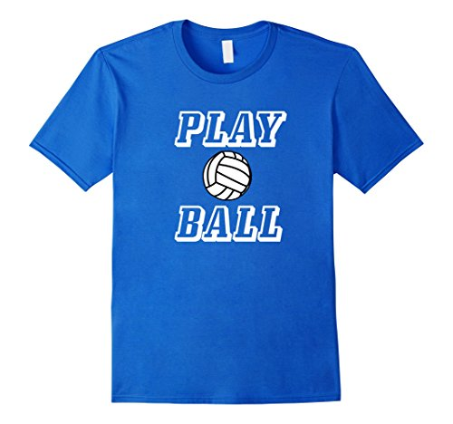 Mens Play Ball Volleyball Sports Tshirt Medium Royal Blue