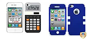 Combo pack Cellet White Proguard Case with Calculator for iPhone 4 & 4S And MYBAT Titanium Dark Blue/Solid White TUFF Hybrid Phone Protector Cover for APPLE iPhone 4S/4