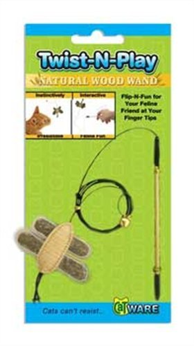 - Ware Manufacturing Natural Wood Twist-N-Play Wand Cat Toy