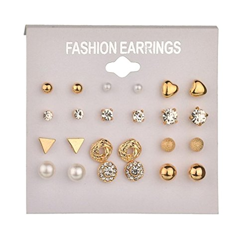 Clearance! 12Pairs Multiple Stud Earring Fashion Assorted Pearl Crystal Heart Stud Triangle Earring Set Jewelry For Women Girls (Gold, alloy) ()