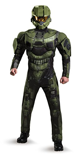 Disguise Men's Halo Deluxe Muscle Master Chief Adult Costume, Green, Medium