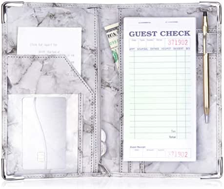 Sonic Server Marble Style Deluxe Server Book for Restaurant Waiter Waitress Waitstaff   Multiple Colors   9 Pockets includes Zipper Pouch with Pen Holder   Holds Guest Checks, Money, Order Pad