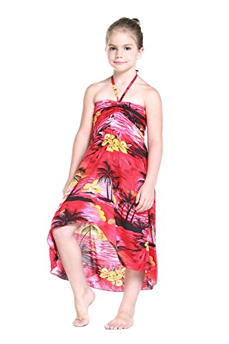 Girl Hawaiian Halter Dress in Red Sunset