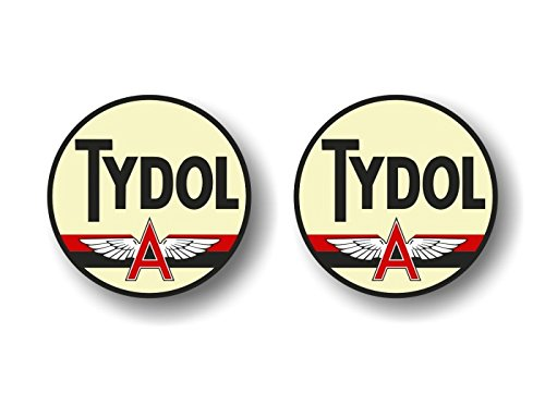 "2 Vintage TYDOL Flying A Gasoline Antique Gas Pump 4"" Decals Pumps Garage Service Station Sign Stickers ((2) 4"" Round Decals)"