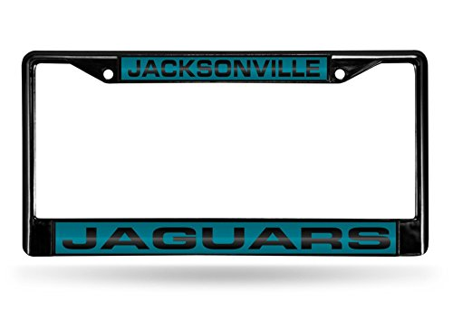 Rico NFL Jacksonville Jaguars Laser Cut Inlaid Standard Chrome License Plate Frame, 6'' x 12.25'', Black by Rico