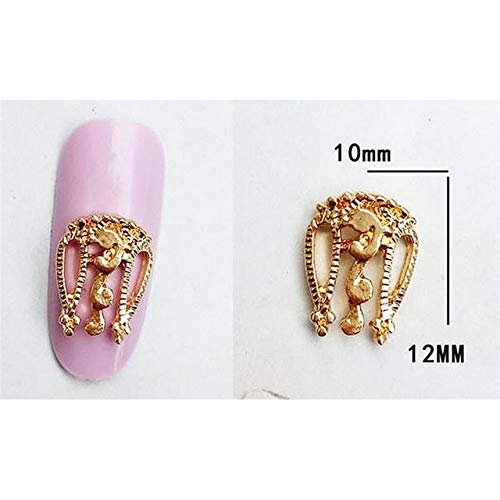 Kamas 10 Pcs Nail Art Alloy Tips Decoration DIY 3D Hollow Jewelry Glitter Rhinestone Retro Charm Tool for Women Beautiful Accessories - (Color: 1)