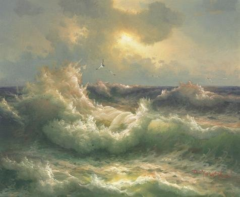 'Decorative Landscape Painting On Canvas: The Sea Wave' Oil Painting, 30x37 Inch / 76x93 Cm ,printed On Perfect Effect Canvas ,this High Quality Art Decorative Prints On Canvas Is Perfectly Suitalbe For Foyer Gallery Art And Home Decoration And Gifts by Leo Brown