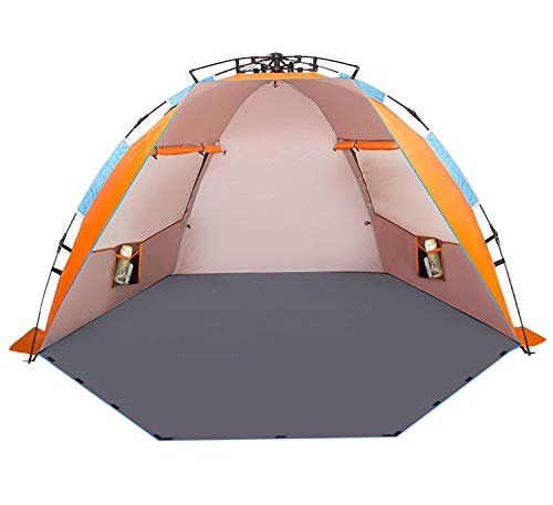 Oileus X-Large 4 Person Beach Tent Sun Shelter - Portable Sun Shade Instant Tent for Beach with Carrying Bag, Stakes, 6 Sand Pockets, Anti UV for Fishing Hiking Camping, Waterproof Windproof, Orange (Pull Floor Portable)