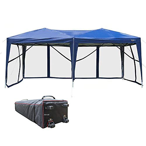 Gazebo Foldable (VINGLI 10' x 20' EZ POP UP Canopy Tent with 6 Removable Mesh Sidewalls,Shelter Anti-UV Anti-Mosquito, Screen House Family Party,Folding Instant Commercial Wedding Gauze Gazebo,Wheeled Carry Bag,Blue)