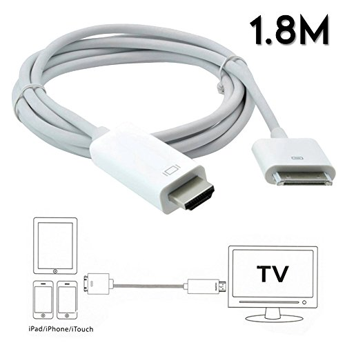6FT 30 Pin Dock Connector to HDMI HDTV AV Digital Adapter Cable for Apple iPad 1 2 3 iPhone 4s