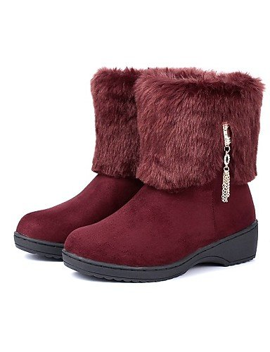 Comfort Dressy Xzz Boots Toe Casual wool Eu39 Rosso Scarpe 5 Platform Marrone Snow Uk6 Cn40 Red Nero donna 5 us8 Round qqfc8WAE