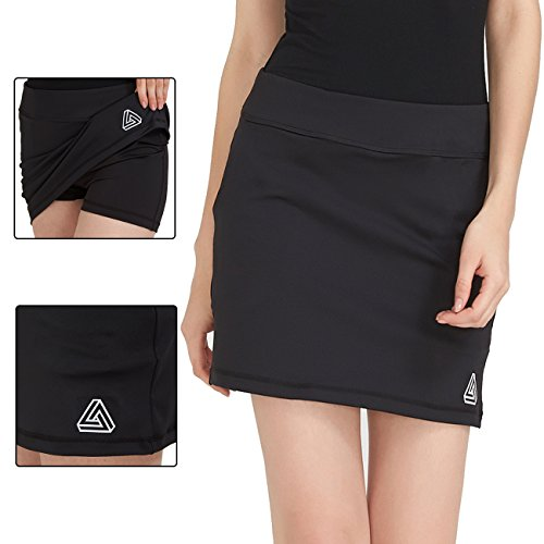 DOMICARE Women Active Athletic Skorts with Pockets - Lightweight Quick Dry Skirt with Short for Workout Sports, M, Black by DOMICARE