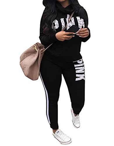 Women 'Pink'Word Letter Print Cowl Neck Sweatshirt Long Pant Jumpsuits 2 Piece Outfits Black 2XL (Striped Letter Pink)