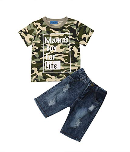Toddler Baby Boy Clothes Short Sleeve Camo T-Shirt +Denim Cropped Pants Shorts Outfits Set (4-5 Years)