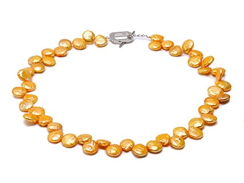 Golden Freshwater Pearl Necklace (JYX Classic Golden Coin Freshwater Pearl Necklace 17.5