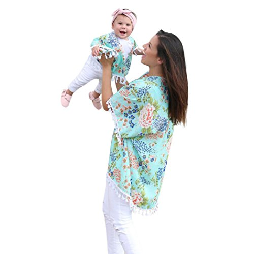 Mommy and Me Dresses,Women Baby Girls Flower Shawl Kimono Cardigan Tops Mom&Me Family Outfits Clothes Mother Daughter Matching Shirts (Green, Girls-3T)]()