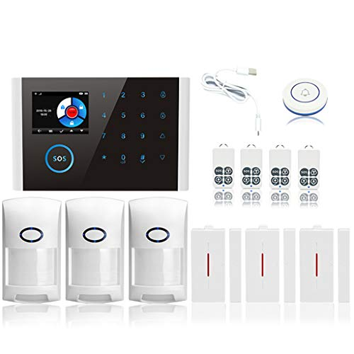 WHER 1Set Home Security System CS108 Wireless WiFi GSM GPRS Smart Alarm System APP Remote Control RFID Card with Colorful Screen SOS Button Switchable Languages