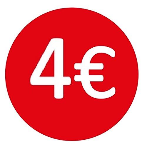 takestop ROTOLO DA 400 ETICHETTE ADESIVE 35mm 4 EURO BOLLO ROSSO SCRITTA BIANCA ADESIVO REMOVIBILE SALDI SCONTI STICKERS MOON 10011092