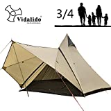 Vidalido Dome Camping Tent - Double Layers Waterproof Anti-UV Windproof Tents, 2-4 Person Family Outdoor Camping Tent(6.87.86.5ft) (Camel)