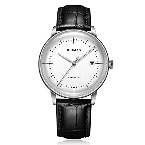 (Men's Business Watch Automatic Mechanical Wristwatch Miyota 8215 Movement Simple Dress Watches for Man with Convex Sapphire Glass Geninue Leather Strap (White Dial))