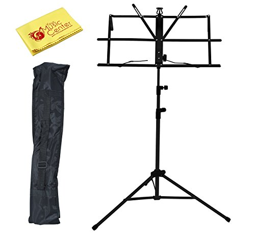 YMC Stand-Wire-MS10-BK Two Section Folding Portable Music Stand with Carrying Bag and Polishing Cloth, Black