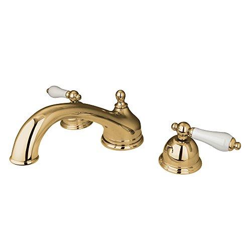 (Kingston Brass KS3352PL Vintage Roman Tub Filler with Porcelain Lever Handle, Polished Brass)