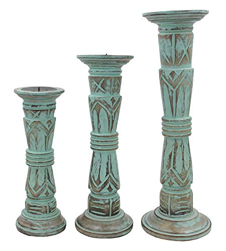 DharmaObjects Set of 3 Wooden Candle Holders - Height 17