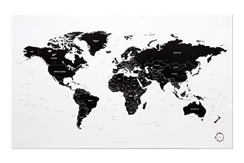 White and Black World Map Unique Design Poster Print ()