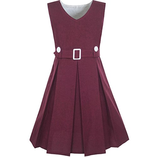 Red School Dress (KV84 Girls Dress Maroon Button Back School Pleated Hem Size 10)