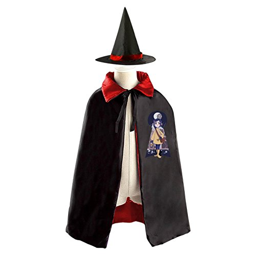 Coraline Costume For Kids (Naughty Coraline Girl Kids' Cloak Cape Mantle Cosplay with Witch Hat for Masquerade)