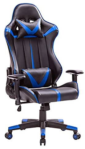 Top Gamer PC Racing Gaming Chair Computer Video Game Chairs for Home Office(Blue/Black) (Gamers Chairs For Pc)