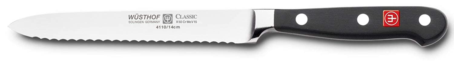 Wusthof Classic 4110 Serrated Utility Knife, 5 Inch