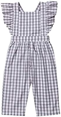 Kids Girls Strap Plaid Sleeveless Romper Jumpsuit Playsuit Outfits Clothes 1-6Y