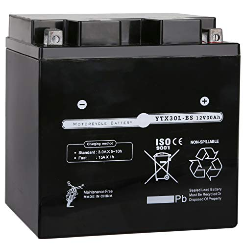 Weize YTX30L-BS Battery Replacement Yuasa YIX30L Harley Motorcycle Battery - Factory Sealed - Maintenance Free - High Performance ETX30L BS For Polaris Sportsman
