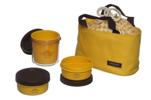 Lock & Lock Multi Round Bento Lunch Box Set with 3 Containers + Bag (Yellow)