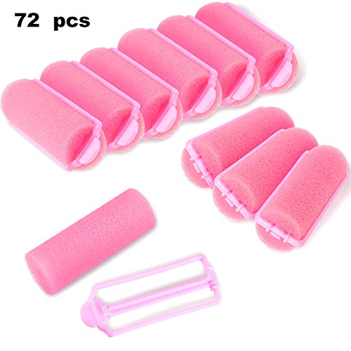 (72 Pieces Pink Foam Sponge Hair Rollers Flexible Hair Styling Curlers Soft Sponge Curlers Tools for DIY Hair Styling)