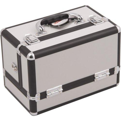 Santa Sunrise (Sunrise Santa Maria Makeup Case Train Nail Travel Organizer Box with Accordion Trays, White Matte, 3 Pound)