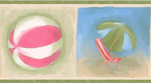 """ビーチサンダルボールチェア傘バケツとシャベルグリーン青い赤いベージュの壁紙ボーダーキッズバスルームベッドルームロール15 'x 5 """""""