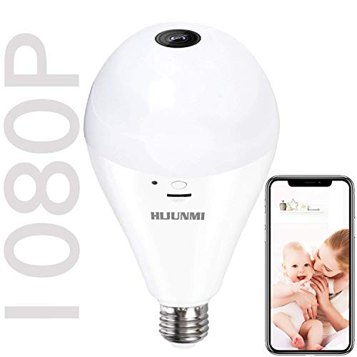 Wifi Bulb Security Camera -1080P Wireless Security Camera Bulb- 2MP Fisheye LED Light 360° Panoramic for Remote Light Cameras, Motion Detection for iPhone/Android/Windows by HIJUNMI