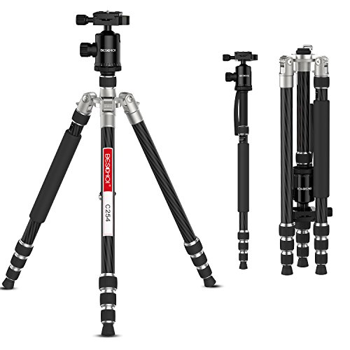 Carbon Fiber Camera Tripod, Beschoi 66'' Compact Travel Tripod Portable Camera Tripod Monopod with Ball Head and Carry Bag for Digital Camera / Camcorder / DSLR / SLR / Video Cameras by Beschoi (Image #9)