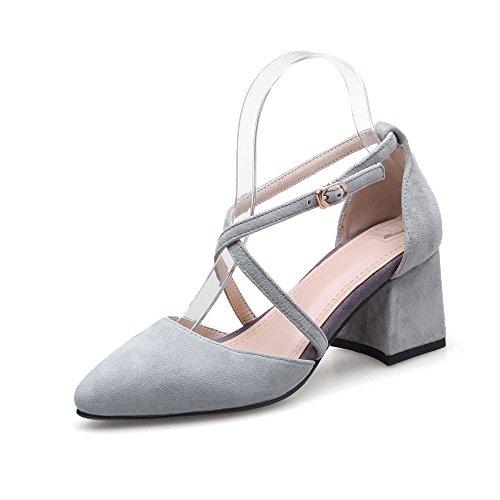 Gray Hebilla Zapatos VIVIOO Simples De Cm Tacón Cómodos Bombas De Alto De Zapatos de Cuero De Tacón Estrecha Zapatos Zapatos 6 De Punta Verano Mujer Cuadrado rrqEa4w