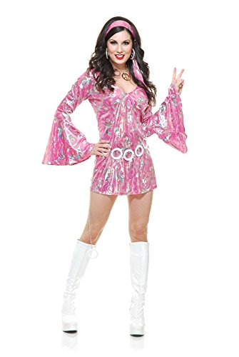 70's Inspired Halloween Costumes (Charades Women's Disco Queen Costume Dress, Pink,)